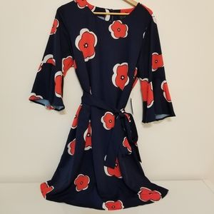 Eloquii Navy Floral Print Flared Sleeve Dress